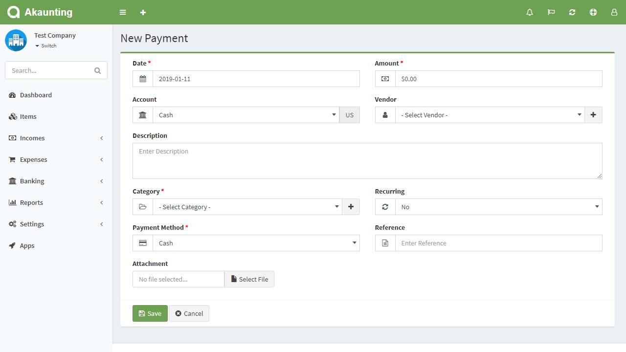 payments form